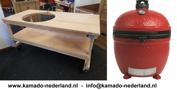 Kamado Joe Big Joe ll Douglas Tafel in combinatie met een Kamado Joe Big Joe II