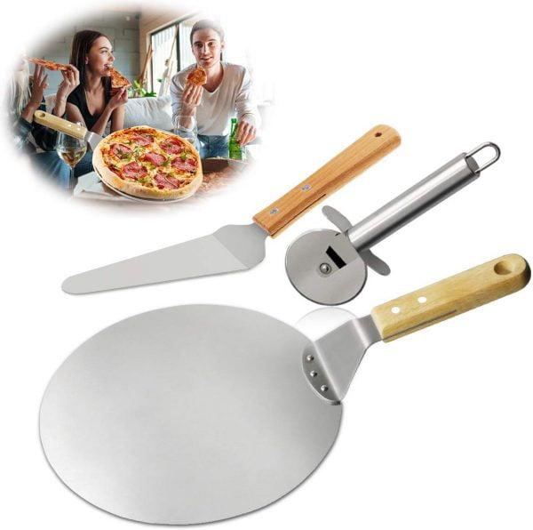 Pizzaschep met pizzasnijder en pizzalepel